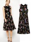 Jollychic Floral High Neck Sleeveless Pleated Chiffon Maxi Dress