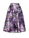 Jollychic Floral Pattern A-Line Elastic Waist Bubble Skirt