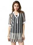 Jollychic Two Pieces Plus Size L-5XL Striped Blouse Vest